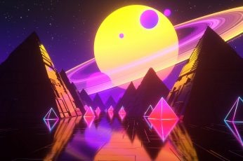 Music, Stars, Planet, Space, Pyramid, Background, Neon, Synth wallpaper