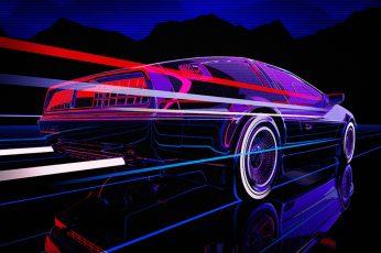 Auto, Music, Machine, DeLorean DMC-12, 80s, Neon, 80's, Synth wallpaper