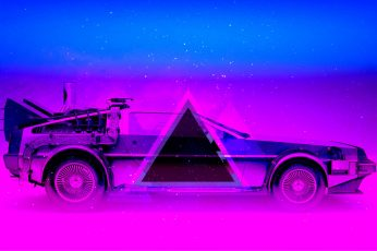 Auto, Music, Neon, Machine, Triangle, DeLorean DMC-12, Electronic wallpaper