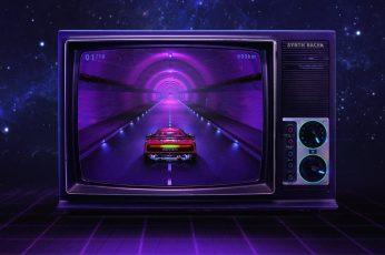 Music, Style, Background, Ferrari, 80s wallpaper, Neon, Illustration