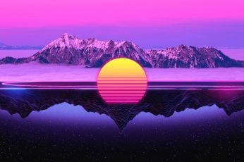 The sun, Reflection, Mountains, Music, Star, 80s, Neon, 80's wallpaper