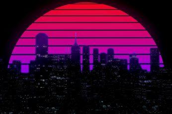 The sun, Night, Music, The city, Star, Building, 80s wallpaper
