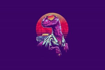 Minimalism, Glasses, Dinosaur, Art, Neon, 80's, Synth, Retrowave wallpaper