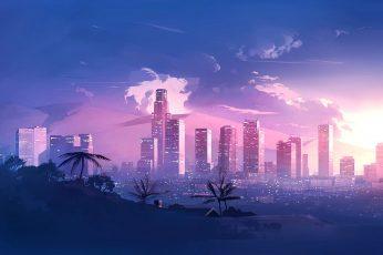 Music, The city, Style, Landscape, 80s wallpaper, Neon, Illustration