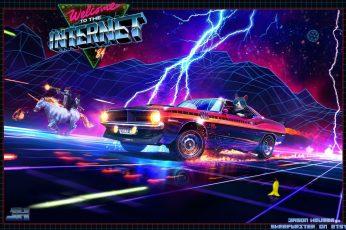 Mustang, Ford, Music, Neon, Machine, Cat, Weapons, Zipper, Unicorn