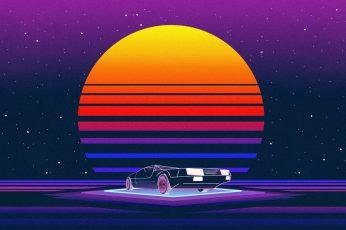 The sun, Music, Machine, Star, Style, Background, 80s wallpaper, Neon