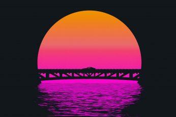 Sunset, The sun, Bridge, Music, Silhouette, Background, 80s