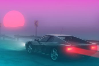 The sun, Fog, Ferrari, 80s, Neon, Summer, 80's, Synth, Retrowave wallpaper