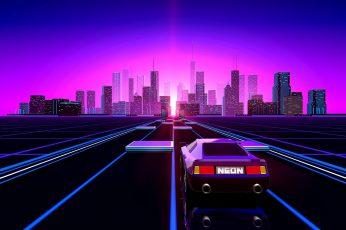 Auto, Music, The city, Neon, Retro wallpaper, Machine, Background, Color