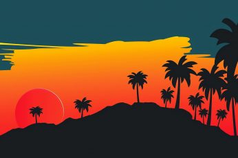 The sun, Minimalism, Star, Style, Palm trees, Background, Illustration, wallpaper