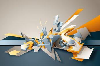 White and blue arrows illustration, digital art, abstract, artwork wallpaper
