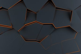 Black digital wallpaper, polygon art, abstract, material style wallpaper