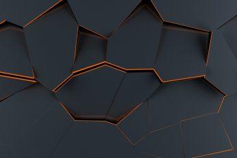 Black digital wallpaper, polygon art, abstract, material style wallpaper