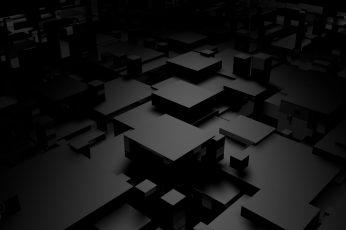 Gray and black 3D cubism digital art, white 3D block illustration wallpaper