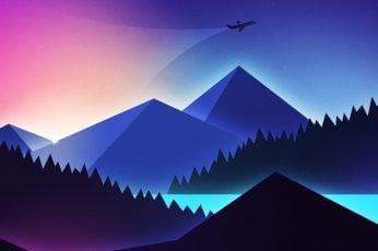 Abstract wallpaper, mountain, airplane, pink, minimalistic, minimalism