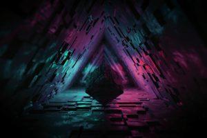 digital, digital art, artwork, cube, lights, neon lights, geometric figures wallpaper