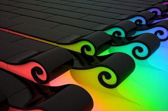 Black scrolled digital wallpaper, colorful, abstract, CGI, digital art wallpaper