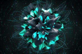 Wallpaper black and green flower illustration, abstract, digital art, shapes