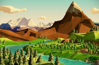 Polygon Art Landscape Mountains Trees River HD, digital/artwork wallpaper