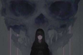 Black haired female illustration, digital art, artwork, Aoi Ogata wallpaper
