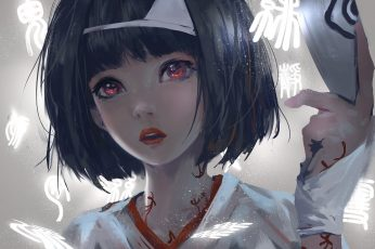 Female anime character in white top wallpaper, black hair, short hair