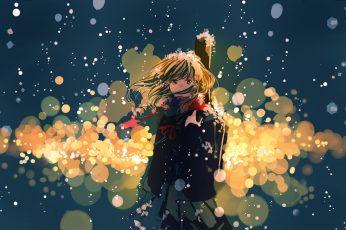 Beige haired female anime character illustration, anime girls wallpaper