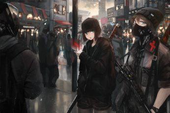 Female anime character digital wallpaper, anime girls, weapon