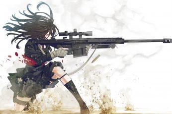Black-haired female anime character holding black assault rifle wallpaper