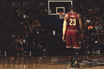 LeBron James, basketball wallpaper, NBA, hoop, real people, full length