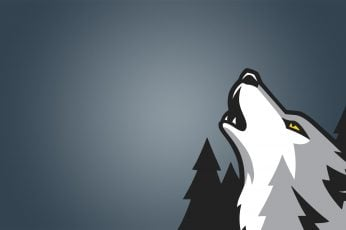 Wallpaper wolf illustration, digital art, simple background, minimalism