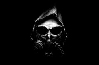 Wallpaper 4K, Apocalypse, Dark background, Black, Minimal, Gas mask, Skull