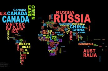 Wallpaper Black background with text overlay, map, typography, colorful