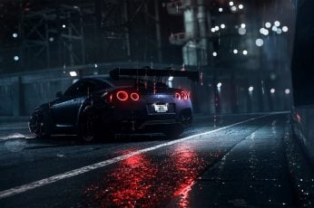Wallpaper blue sports car wallpaper, dark, night, rain, Nissan, Nissan GT-R