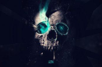 Wallpaper human skull illustration, artwork, neon, digital art, cyan, black background