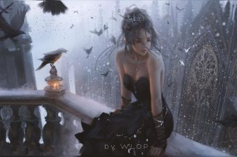 Wallpaper Fantasy art, women, dress, black dress, city, birds, cleavage