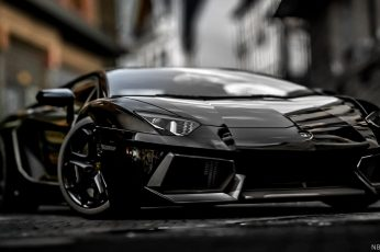 Wallpaper black sports car, Lamborghini, Lamborghini Aventador, vehicle