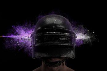 Wallpaper PUBG, helmet, bullet, video games, PC gaming, purple, simple background