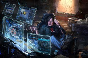 Wallpaper Men's black jacket clipart, geek, cyberpunk, futuristic, computer