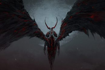 Lucifer wallpaper, anime character with wings, artwork, fantasy art