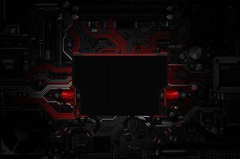 Wallpaper Red and black circuit board, circuits, electronics, digital art