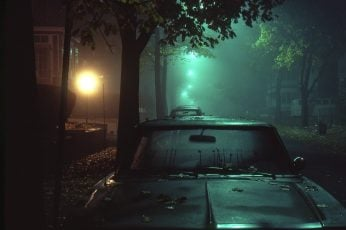Wallpaper black car, street, night, street light, dark, lights, mist, mode of transportation