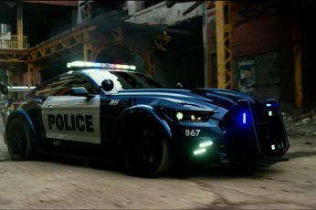 Wallpaper blue and white police car, Ford, Transformers, Ford Mustang, transformers: the last knight