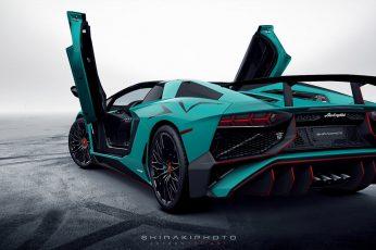 Teal and black Lamborghini sports car, Lamborghini Aventador wallpaper
