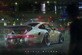 Wallpaper White sports car with text overlay, Khyzyl Saleem, Porsche 911 Turbo