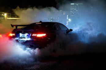 Wallpaper Black BMW car, BMW M3 , race cars, racing, smoke, BMW M3 GTR