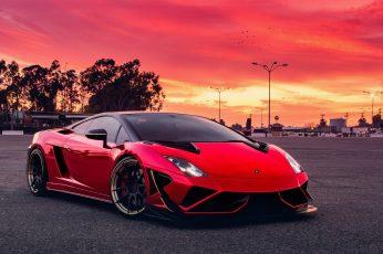 Red car wallpaper, red sky, sports car, vehicle, supercar, asphalt, lamborghini