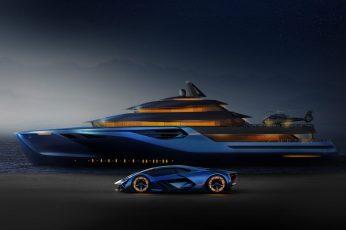 Yacht wallpaper, vehicle, lamborghini terzo millennio, luxury yacht, concept car