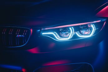 Wallpaper matte-gray BMW vehicle, BMW M4, car, cyan, pink, neon, neon glow