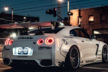 Wallpaper White sports car, ultra-wide, Nissan Skyline GT-R, mode of transportation