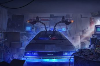 Gray car, digital art, DeLorean, time travel, Back to the Future wallpaper